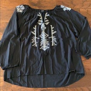 Torrid Black Embroidered Tunic Size 4x